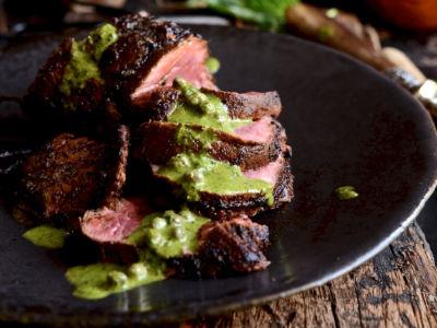 parmesan rump steak with salsa verde