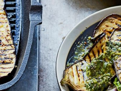 aubergine with salsa verde