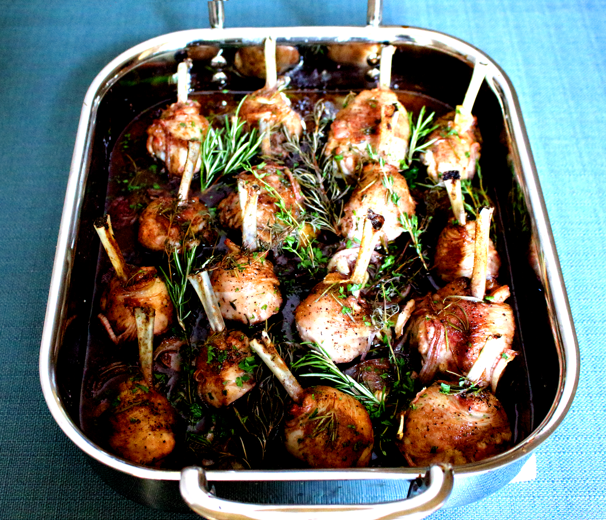 STUFFED FRENCH DEBONED CHICKEN LEG WITH RED WINE AND SOYA REDUCTION