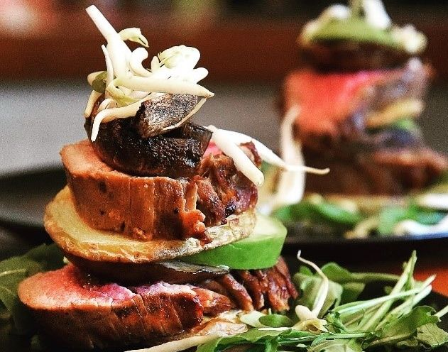 seared fillet stack with asian dressing